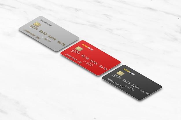 Isometric three different plastic card mockup