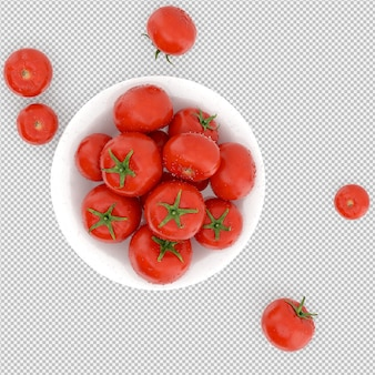 Isometric tomatoes 3d render