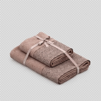 Isometric towels 3d isolated render