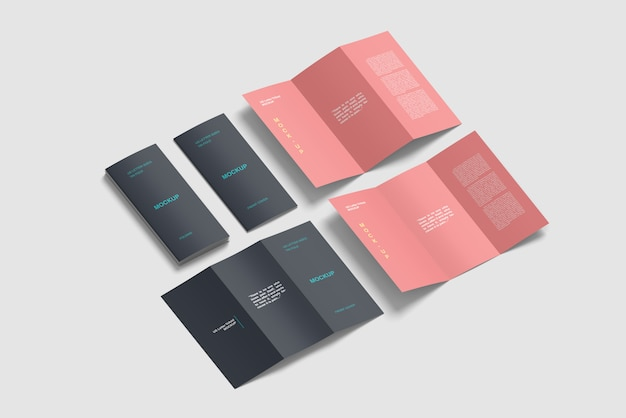 Isometric trifold brochure mockup set