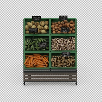 Isometric vegetable stand market 3d render