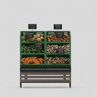 Isometric vegetable stand market 3d render