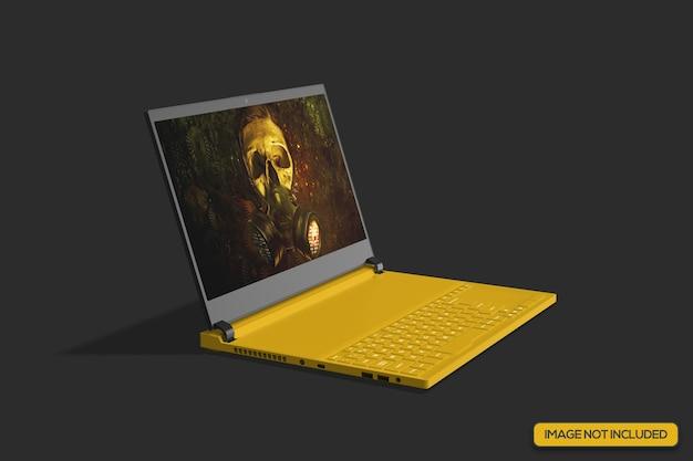 Isometric view of gaming laptop mockup Premium Psd