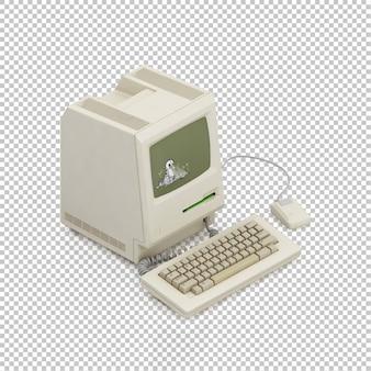Изометрический старинный компьютер