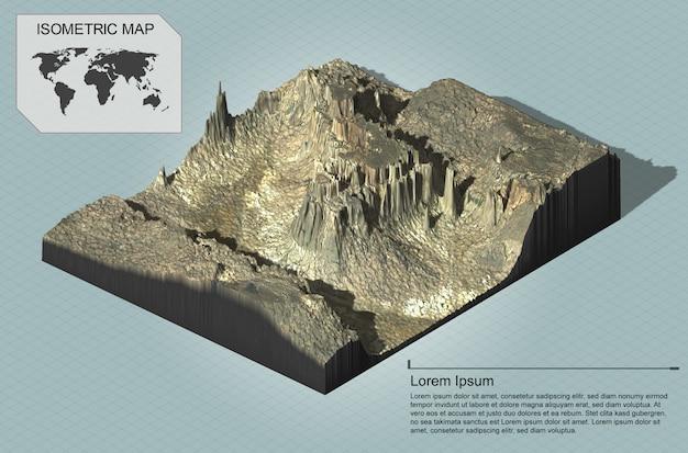 인포 그래픽을위한 아이소 메트릭 가상 지형
