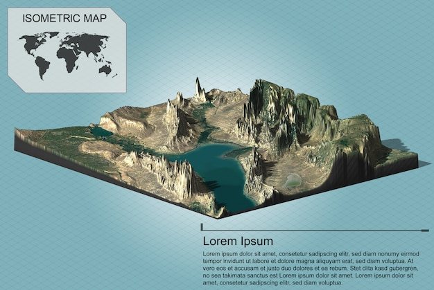 Isometric virtual terrain for infographics