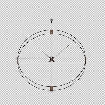Isometric wall clock 3d render