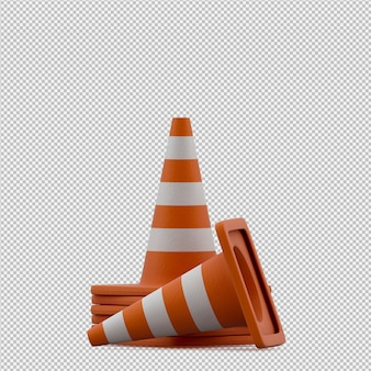 Isometric warning cone 3d render