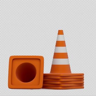 Изометрический предупреждающий конус 3d визуализации