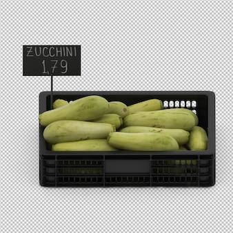 Isometric zucchini 3d render
