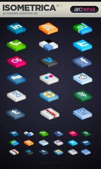 Isometrical social media icon set