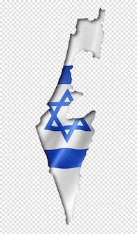 Карта флага израиля в трехмерной визуализации изолированные