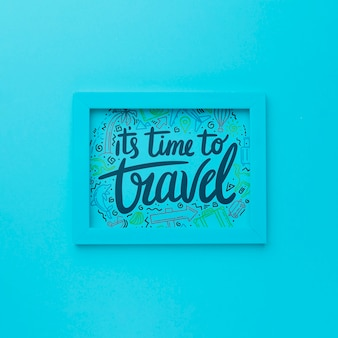 It's time to travel, lettering on blue frame