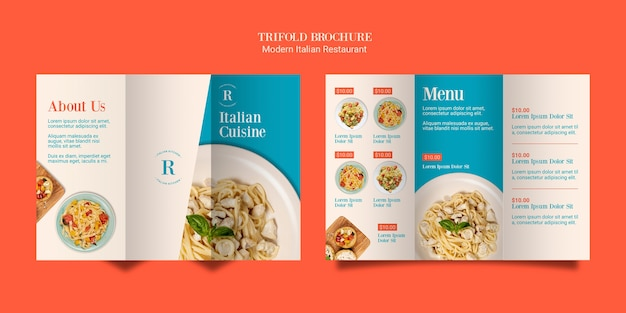 Italian cuisine trifold brochure