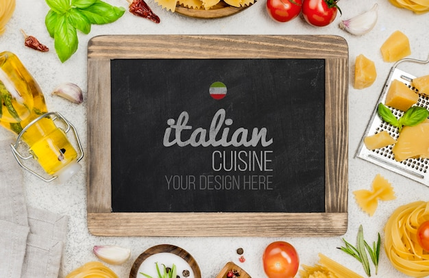 Italian cuisine with ingredients