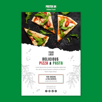 Italian food a4 poster template