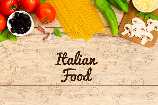 Italian food background with tasty ingredients