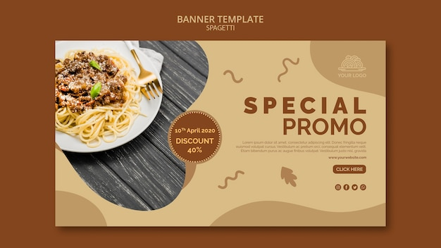 Italian food banner template concept