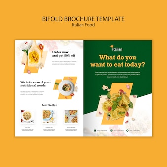 Italian food bifold brochure template