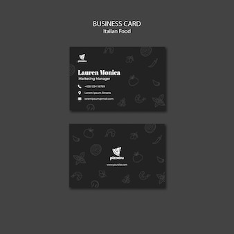Italian food business card template theme Free Psd