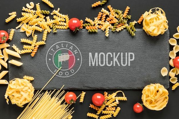 Mock-up di cibo italiano