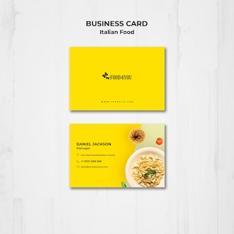 Italian food concept business card template