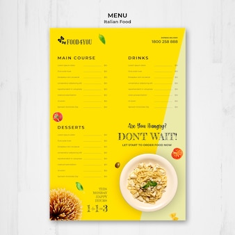 Italian food concept menu template