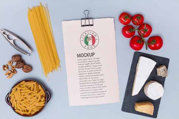 Italian food concept with ingredients