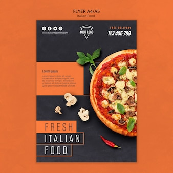 Volantino di cibo italiano