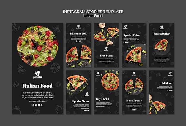 Italian food instagram stories template Free Psd