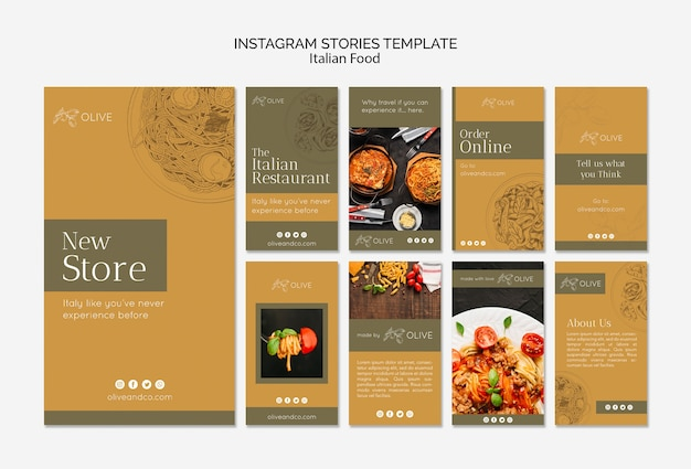 이탈리아 음식 인스 타 그램 이야기 템플릿