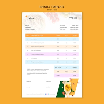 Italian food invoice template design