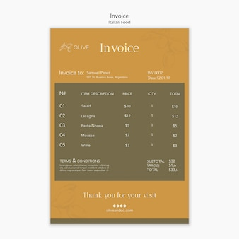 Italian food invoice template