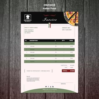 Italian food invoice