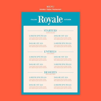 Italian food menu template design