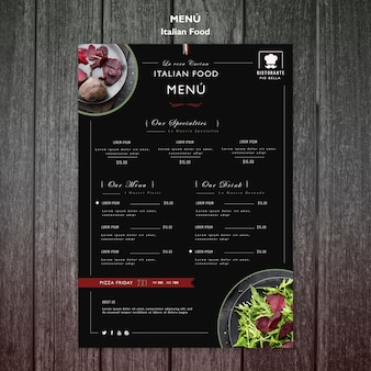 Italian food menu template