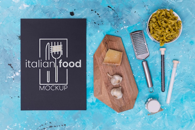 Italian food mock-up flat lay