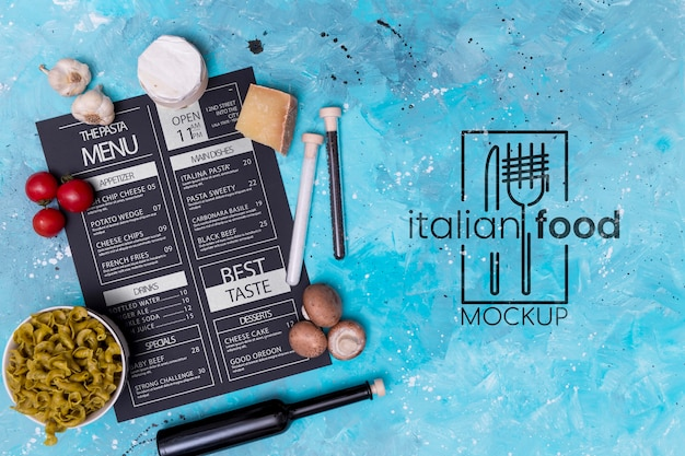 Italian food mock-up above view