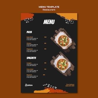 Modello di menu del ristorante di cucina italiana