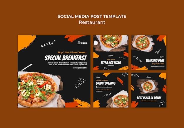Post sui social media di ristoranti di cucina italiana