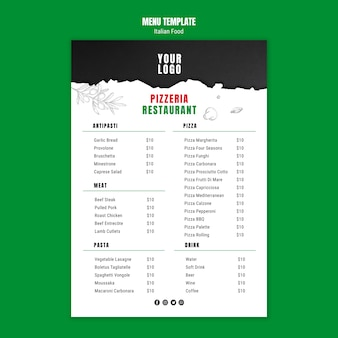Italian food template menu