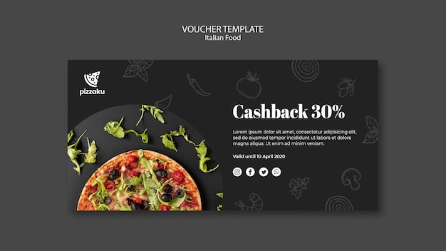 Italian food voucher template concept Free Psd