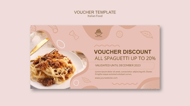 Italian food voucher template concept
