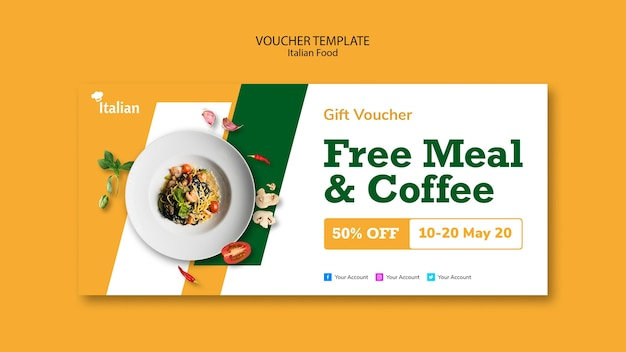 Italian food voucher template design