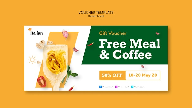 Italian food voucher template style