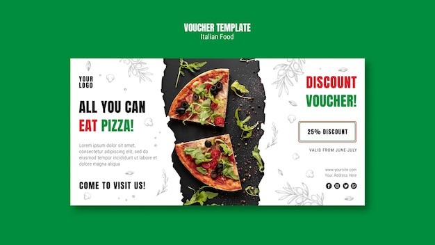 Italian food voucher template