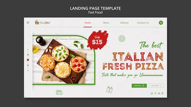 Italian pizza landing page template