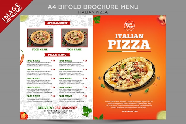 Italian pizza outside bifold brochure menu series template