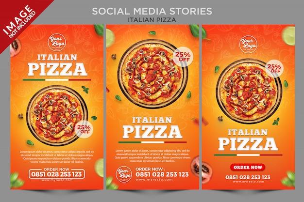 Шаблон серии историй из социальных сетей о итальянской пицце