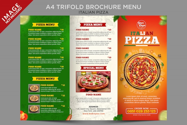 Italian pizza trifold brochure menu series template